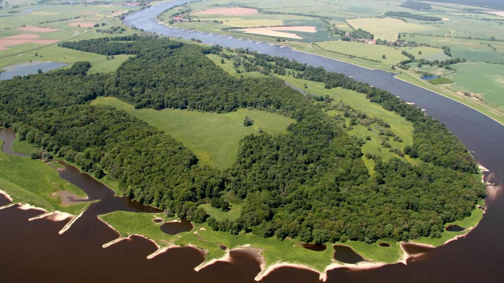 Luftbild der Elbschleife um die Hohe Garbe; Foto: F. Meyer / RANA